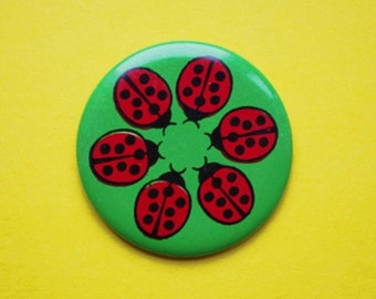 Vintage 4 cm (1.57'') fairytale ladybug insect bug childrens kids brooch badge pin pinback button token clasp pinion tin metal