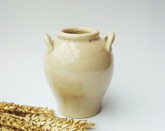 Vintage ceramic honey pot from the Soviet era (early 1970s), handmade container stoneware jar mug cup pitcher