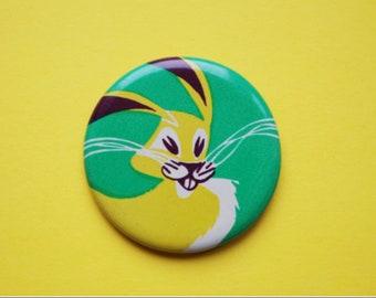 Vintage 4 cm (1.57'') rabbit bunny hare russian animal cartoon brooch badge pin pinback button token clasp pinion tin metal