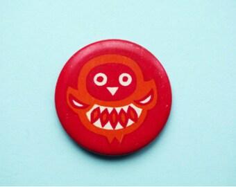 Vintage 4 cm (1.57'') owl bird forest nature barn russian animal cartoon brooch badge pin pinback button token clasp pinion tin metal