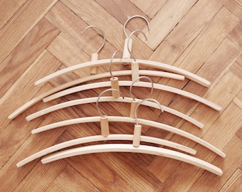 FREE SHIPPING 8 vintage wood clothes clothing coat hangers from the Soviet era (1970s) hook eight dress shirt | 4