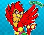 CINDER the PHOENIX CHRISTMAS Sticker | Baby Bird Sticker | Phoenix Sticker | Bells Sticker | Xmas Sticker | Mistletoe Sticker | Holidays A23