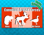 BUMPER STICKER Armed Forces | Funny Sticker | Canadian Military | Army | Navy | Air Force | Canada Decal | Canada Stickers | Canada Flag