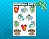 STICKER SHEET Dragon Stickers | Unicorn Stickers | Griffon Stickers| Scrapbooking Stickers | Phoenix Stickers | Mythological Stickers