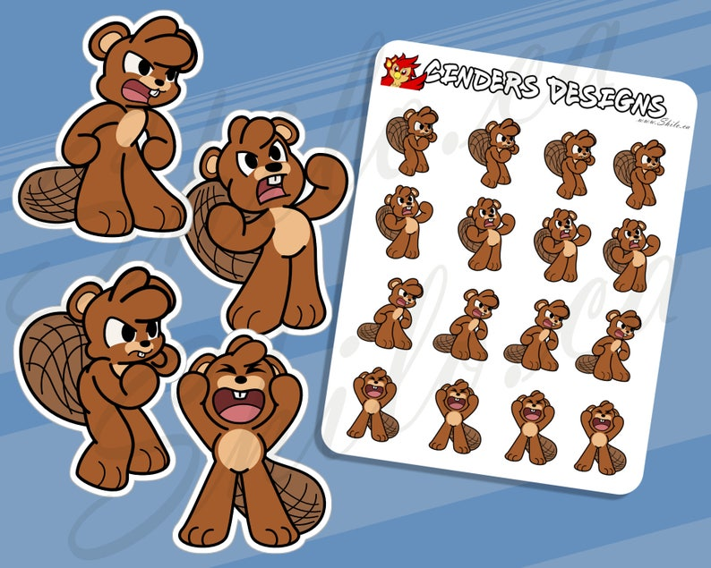 BEAVER ANGRY Planner Stickers  Animal Stickers  Bullet image 0