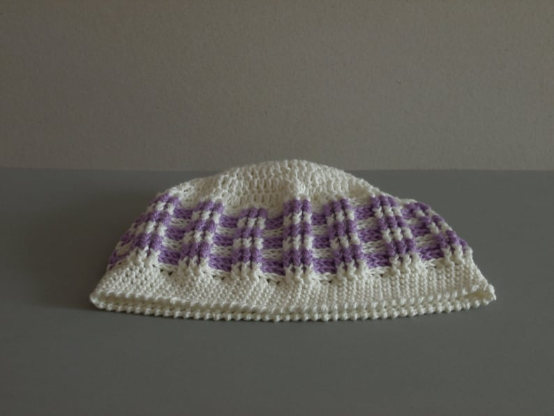 Cotton Hat Striped Hat READY TO SHIP White with Lilac Hat Women Hat Spring Summer Hat Crocheted Slouchy Hat