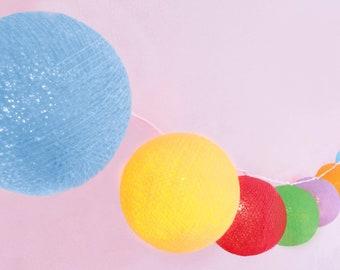 Timer und Dimmer CREATIVECOTTON LED Lichterkette mit Cotton Balls inkl Butterfly, 20 Kugeln