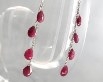 Ruby teardrop dangly earrings with sterling silver