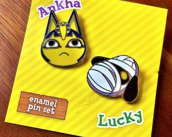 Animal Crossing - Ankha & Lucky ~ Enamel pin set