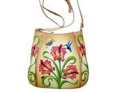 Niarvi Beige Florets Hand Painted Genuine Leather Cross body Bag
