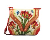Nairvi Red Regalia Luxury Hand Painted Genuine Leather Bag