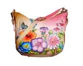 Niarvi Hand Painted Genuine Leather Bag - Pink Paradise