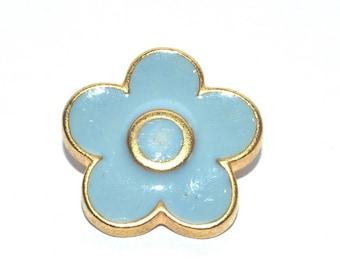 1 blue button shank pastel sky/grey metal Gold 1.2 cm vintage Daisy flower