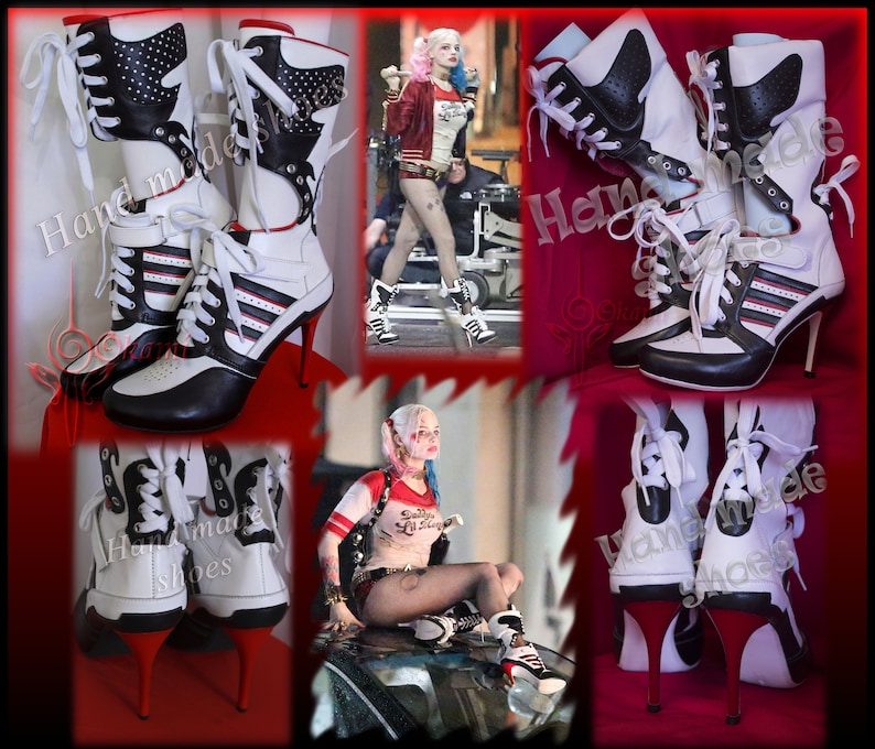 56b7110d1f Custom made Harley Quinn suicide squad boots Cosplay