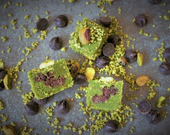 1 Dozen of Pistachio Marzipan with Dark Chocolate Chip Mini Bars, Paleo Diet, Gluten & Grain Free, 100% Vegan, All Natural