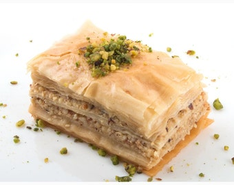 Handmade Baklava, Walnuts,Cashews or Pistachios filling, Made to Order, 64 pcs, full tray, 4lbs+ total