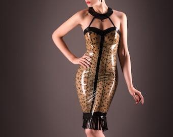 """Ready-to-wear Latex Dress """"Arrow Dress"""" in cloud grey/black size S by Maniac Latex"""
