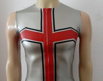 """Ready-to-wear Latex Top """"Crux Top"""" in silver metallic/red/black size M by Maniac Latex"""