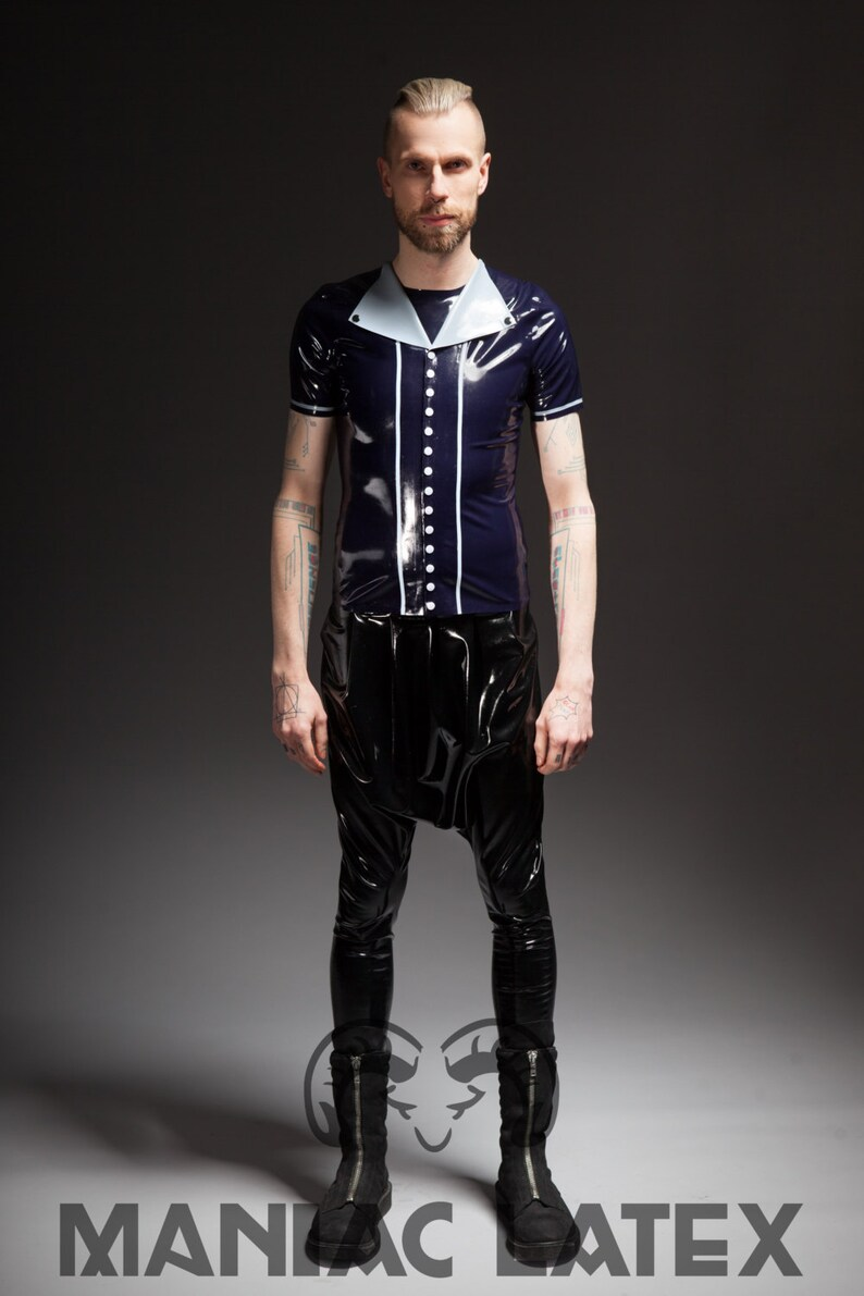 SAMPLE SALE Latex shirt Button Down in navy bluegrey size SM by Maniac Latex
