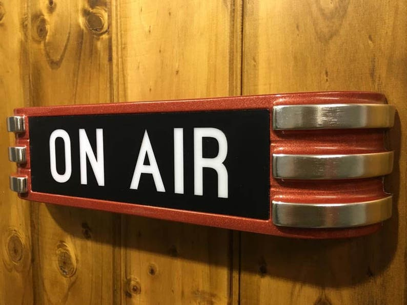 Art Deco ONAIR Recording Radio Sign in stunning metallic red chrome claw  style