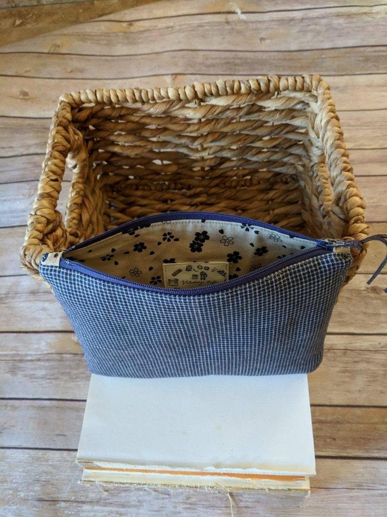 Blue Homespun zippy pouch