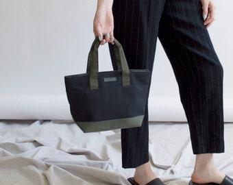 fe3e26985a71 vintage top handle bag nylon 90s scuba gortex material manmade army green  and black