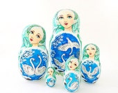 White Swans cute nesting dolls matryoshka, russian wooden 5 pcs stacking painted dolls pretty faces girls