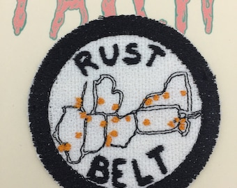 Rust belt map iron on embroidered patch