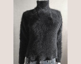 Fuzzy 70% Angora Vintage Sweater CHAVER Black Turtleneck 36