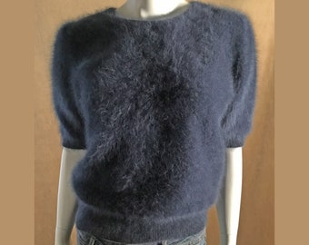 Fuzzy 80% Angora Vintage Sweater Slate-Blue Short-Sleeve Pullover 40