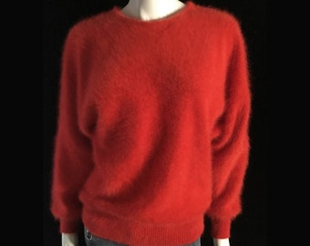 Fuzzy 80% Angora Vintage Sweater Red Long-Sleeve Pullover 40+