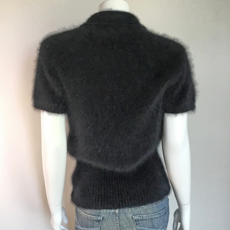 Fuzzy 75/% Angora Vintage LIMITED Black Short-Sleeve Polo-Collar Sweater 36-Bust