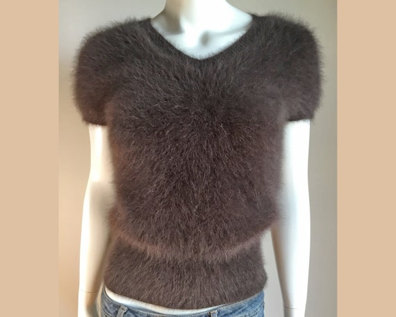 Fuzzy 80 90% Angora Vintage Chocolate Brown V Neck Pullover Sweater 32