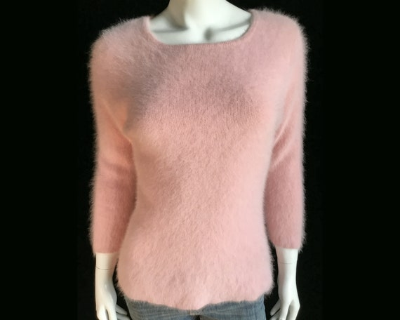 Fuzzy 80% Angora RUBY RD. Pink V Neck Pullover Sweater 36