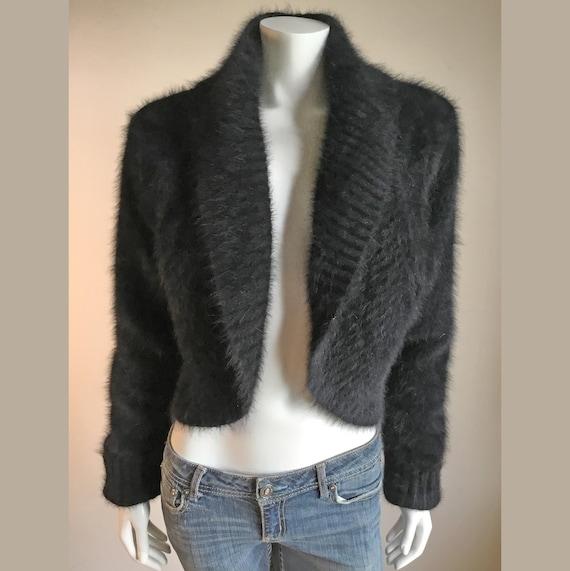 Size Large L Express 80/% Angora Women/'s Sweater Green Fuzzy Soft V Neck