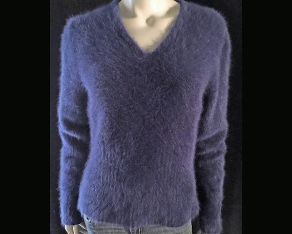 Fuzzy 80% Angora Vintage TESORI Navy Blue V Neck Pullover Sweater 38