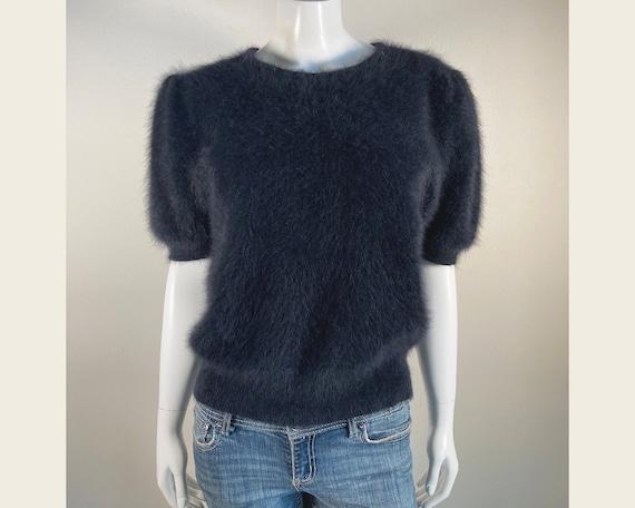 Fuzzy 80% Angora Vintage Black Puff-Sleeve Pullove