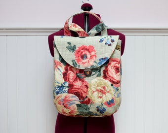 Cotton Backpack Back Pocket Floral Backpack Purse Mini Backpack Handmade with Floral Waverly Fabric Lined Bag with Adjustable Straps
