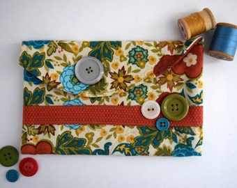 Blue Zinnia Small Pouch, Colorful Floral Pencil Holder Handmade With Cotton Fabric, Red Lining Bag With Button Detail, Bright Floral Bag