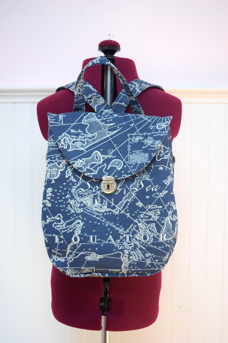 6426b78e86 Atlas Backpack Purse Mini Backpack Handmade with Map Print