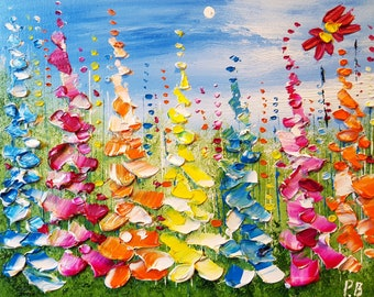 Colourful Meadow Flowers in Love, an original oil painting on boxed canvas