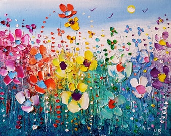 Rainbow Meadow Flowers in Love, an original oil painting on boxed canvas