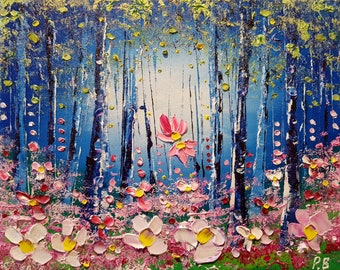 Misty Woods & Meadow Flowers in Love, an original oil painting on canvas