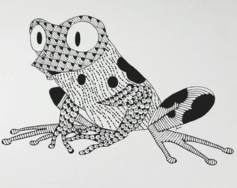 Frog Zentangle Art Print