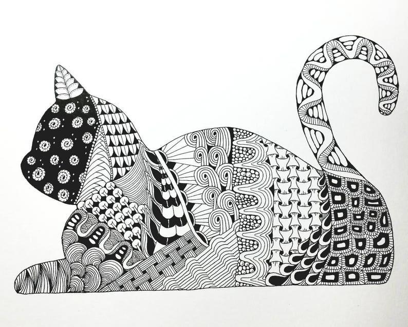 Cat Zentangle Art Print Etsy