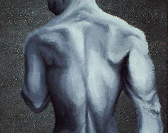 Oil pastel, Male nude, back - Gray Area