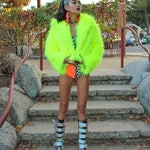 Neon yellow faux fur coat with holographic lining