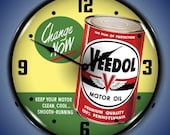 LED Veedol Motor Oil 14 quot Backlit Lighted Advertising Sign Clock Vintage Style Retro Auto Gas Oil Garage Art FREE Shipping