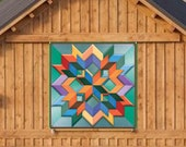 Barn Quilt Box Pattern Green Background Metal Sign with UV Protection, 6 Sizes, Amish Dutch country home decor wall art AQP