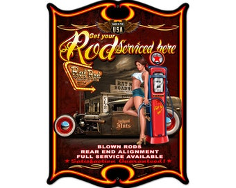 VINTAGE STYLE METAL SIGN Pinup Girl  Hot Rear Ends  18 x 12